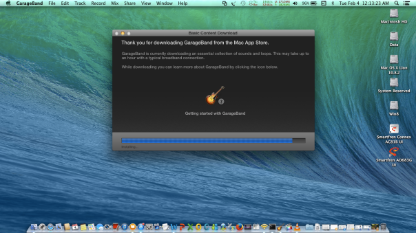 Finishing Install GarageBand On Mac OS X Mavericks 10.9.1 On Asus A46C